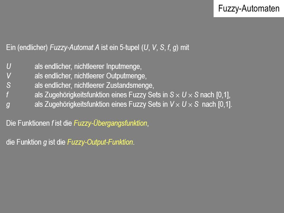 Fuzzy-Automaten Ein (endlicher) Fuzzy-Automat A ist ein 5-tupel ( U, V, S, f, g ) mit U als endlicher, nichtleerer Inputmenge, V als endlicher, nichtl