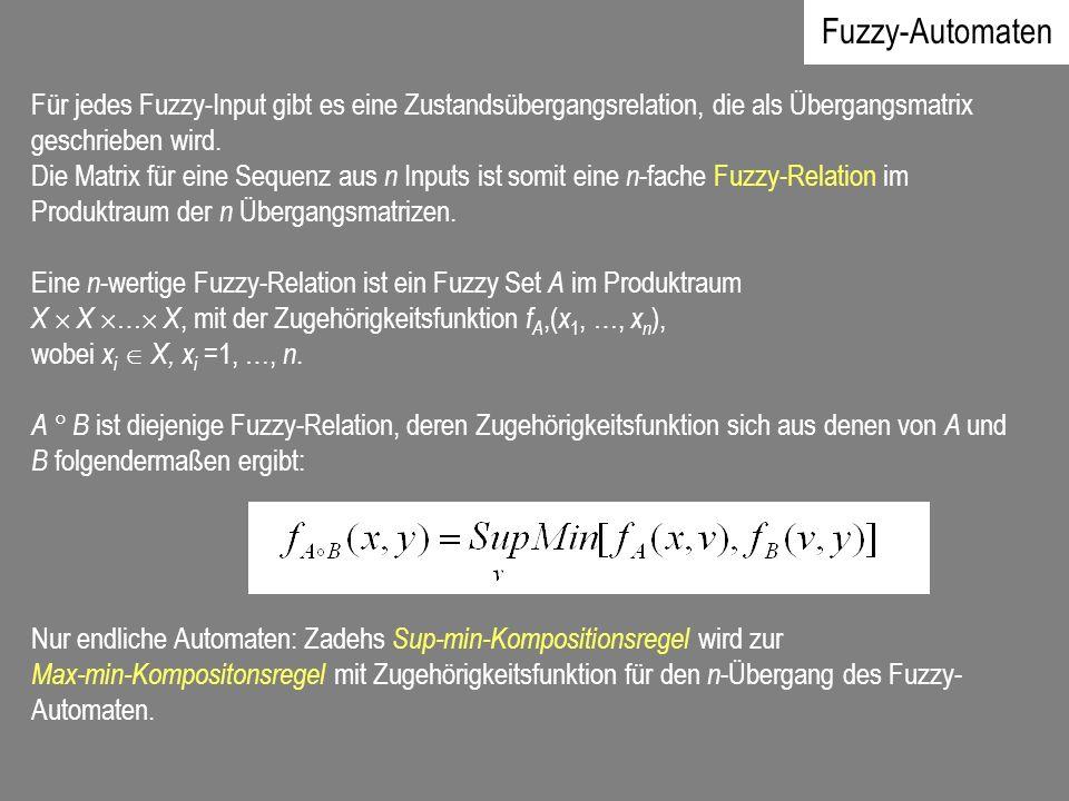 Fuzzy-Automaten Für jedes Fuzzy-Input gibt es eine Zustandsübergangsrelation, die als Übergangsmatrix geschrieben wird. Die Matrix für eine Sequenz au
