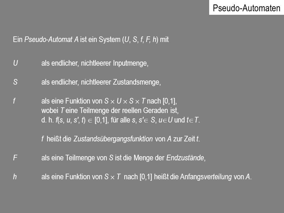 Pseudo-Automaten Ein Pseudo-Automat A ist ein System ( U, S, f, F, h ) mit U als endlicher, nichtleerer Inputmenge, S als endlicher, nichtleerer Zusta