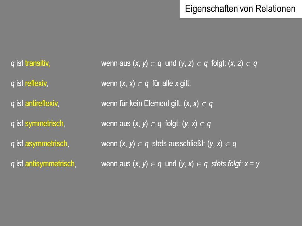 q ist transitiv, wenn aus ( x, y ) q und ( y, z ) q folgt: ( x, z ) q q ist reflexiv, wenn ( x, x ) q für alle x gilt. q ist antireflexiv, wenn für ke