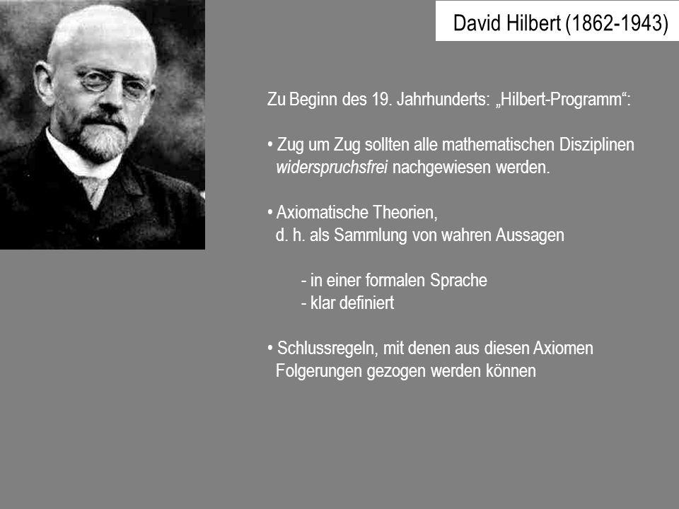 Zu Beginn des 19. Jahrhunderts: Hilbert-Programm: Zug um Zug sollten alle mathematischen Disziplinen widerspruchsfrei nachgewiesen werden. Axiomatisch