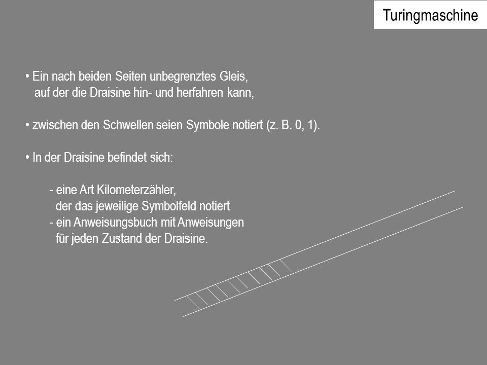 Ein nach beiden Seiten unbegrenztes Gleis, auf der die Draisine hin- und herfahren kann, zwischen den Schwellen seien Symbole notiert (z. B. 0, 1). In