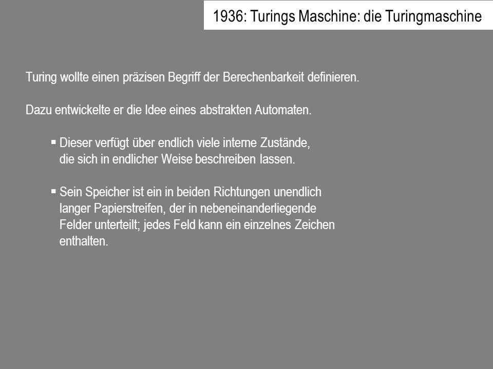 Turing wollte einen präzisen Begriff der Berechenbarkeit definieren. Dazu entwickelte er die Idee eines abstrakten Automaten. Dieser verfügt über endl
