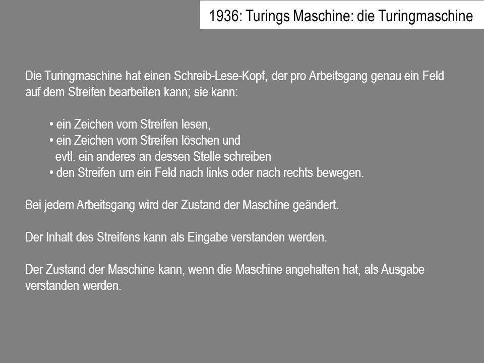 Die Turingmaschine hat einen Schreib-Lese-Kopf, der pro Arbeitsgang genau ein Feld auf dem Streifen bearbeiten kann; sie kann: ein Zeichen vom Streife