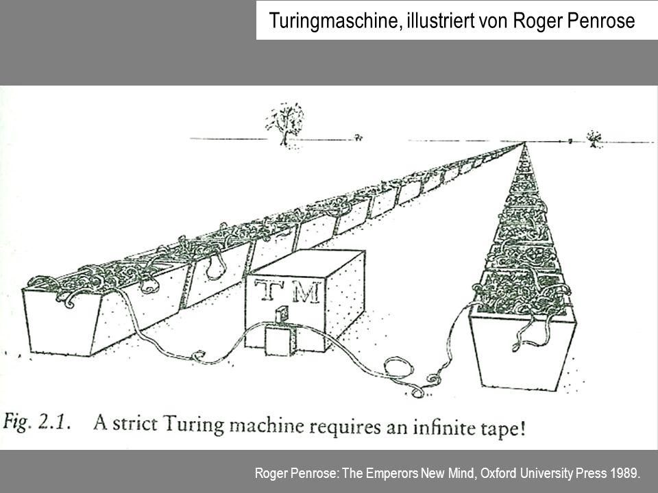 Roger Penrose: The Emperors New Mind, Oxford University Press 1989. Turingmaschine, illustriert von Roger Penrose