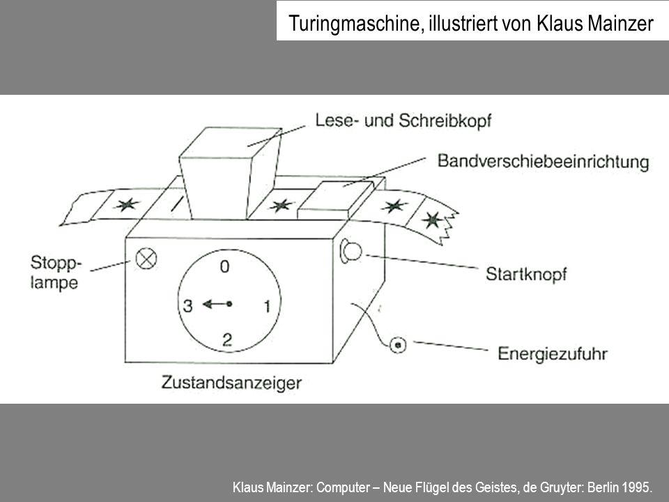 Klaus Mainzer: Computer – Neue Flügel des Geistes, de Gruyter: Berlin 1995. Turingmaschine, illustriert von Klaus Mainzer