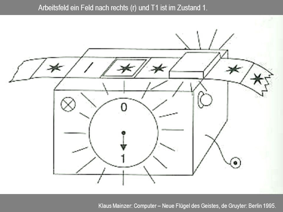 Arbeitsfeld ein Feld nach rechts (r) und T1 ist im Zustand 1. Klaus Mainzer: Computer – Neue Flügel des Geistes, de Gruyter: Berlin 1995.