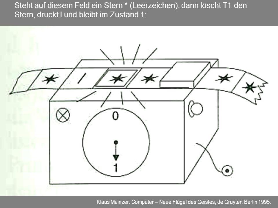 Steht auf diesem Feld ein Stern * (Leerzeichen), dann löscht T1 den Stern, druckt l und bleibt im Zustand 1: Klaus Mainzer: Computer – Neue Flügel des