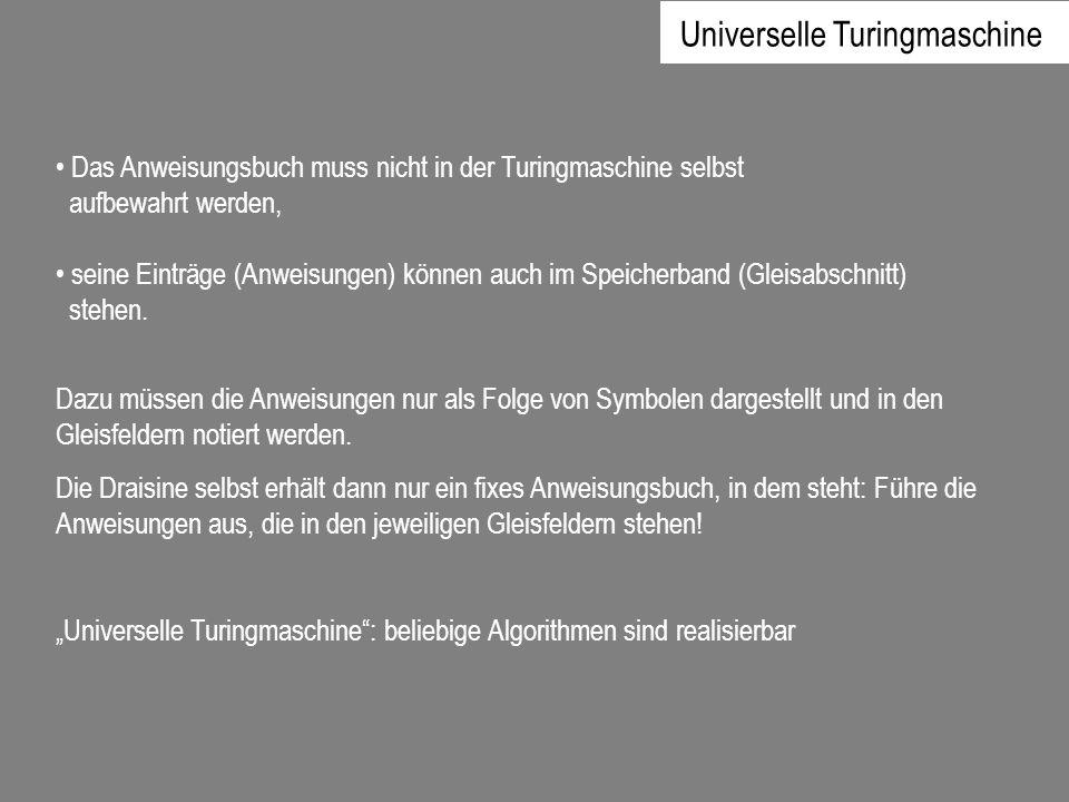 Das Anweisungsbuch muss nicht in der Turingmaschine selbst aufbewahrt werden, seine Einträge (Anweisungen) können auch im Speicherband (Gleisabschnitt