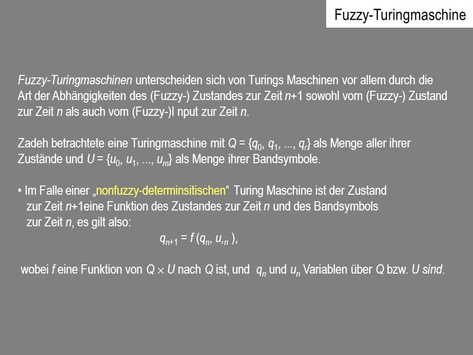 Fuzzy-Turingmaschinen unterscheiden sich von Turings Maschinen vor allem durch die Art der Abhängigkeiten des (Fuzzy-) Zustandes zur Zeit n +1 sowohl