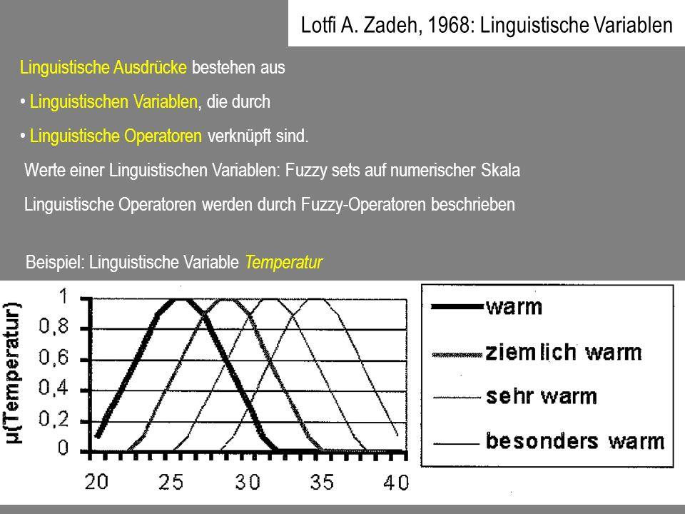 Linguistische Ausdrücke bestehen aus Linguistischen Variablen, die durch Linguistische Operatoren verknüpft sind. Werte einer Linguistischen Variablen