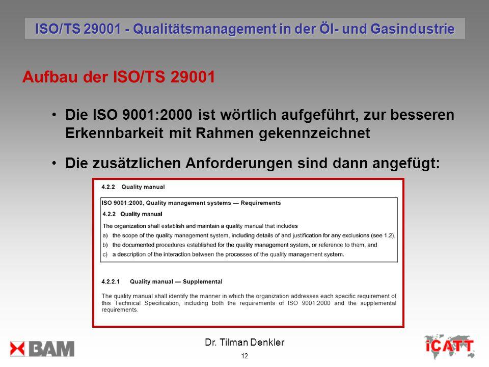Dr. Tilman Denkler 12 Aufbau der ISO/TS 29001 Die ISO 9001:2000 ist wörtlich aufgeführt, zur besseren Erkennbarkeit mit Rahmen gekennzeichnet Die zusä