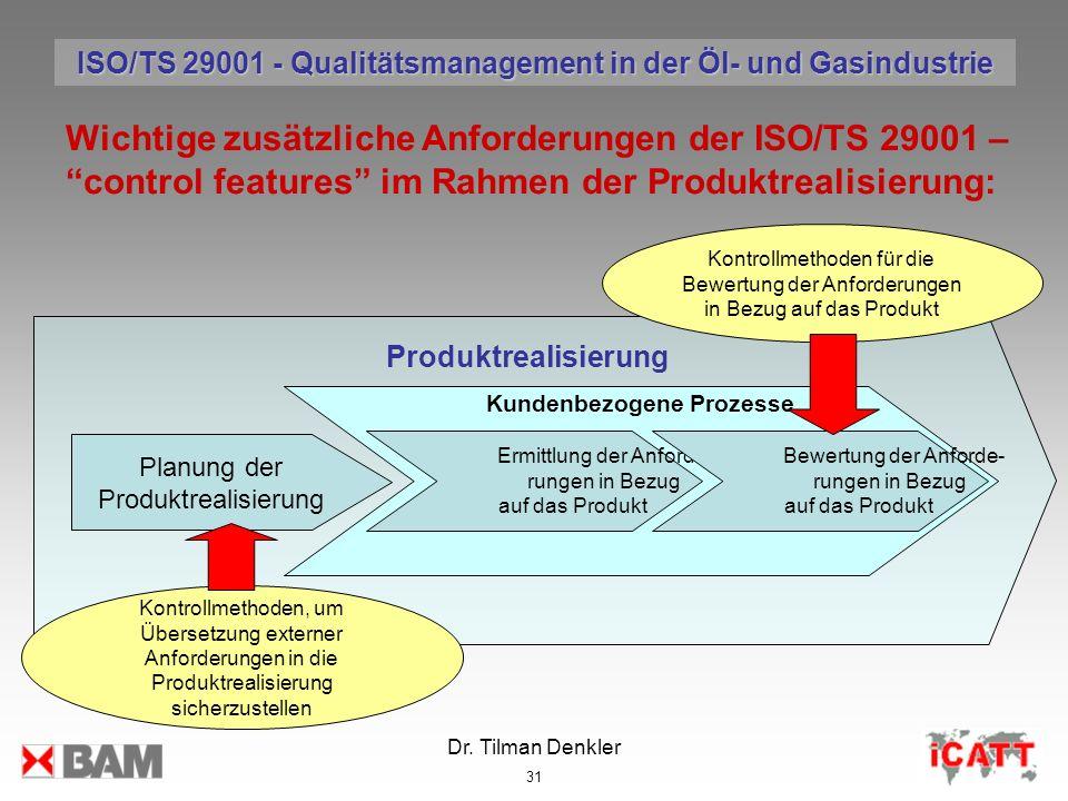 Dr. Tilman Denkler 31 Wichtige zusätzliche Anforderungen der ISO/TS 29001 – control features im Rahmen der Produktrealisierung: Produktrealisierung Pl