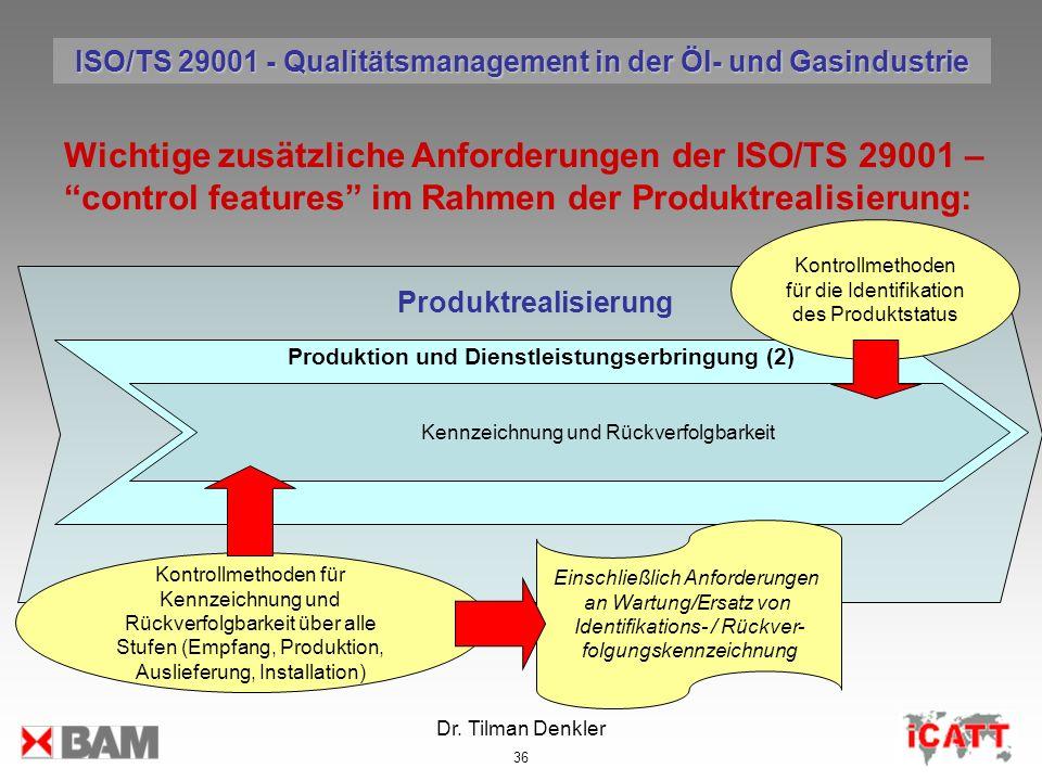 Dr. Tilman Denkler 36 Produktrealisierung Wichtige zusätzliche Anforderungen der ISO/TS 29001 – control features im Rahmen der Produktrealisierung: Ko
