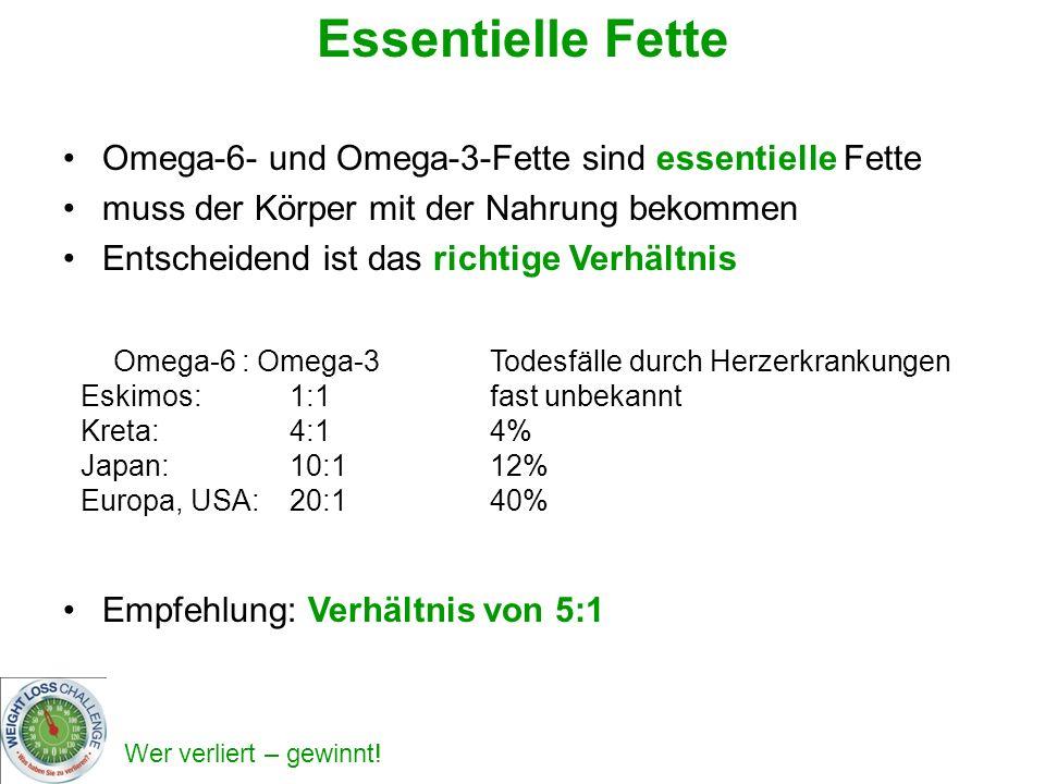 Essentielle Fette Omega-6- und Omega-3-Fette sind essentielle Fette muss der Körper mit der Nahrung bekommen Entscheidend ist das richtige Verhältnis Empfehlung: Verhältnis von 5:1 Omega-6 : Omega-3 Eskimos: 1:1 Kreta:4:1 Japan:10:1 Europa, USA:20:1 Todesfälle durch Herzerkrankungen fast unbekannt 4% 12% 40%