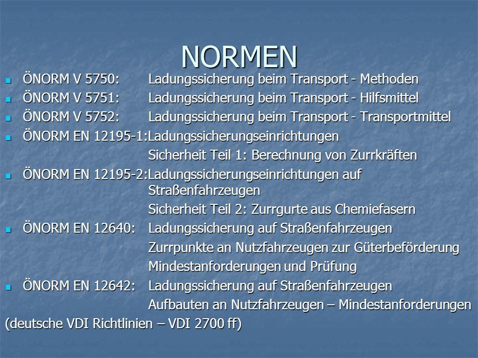 NORMEN ÖNORM V 5750:Ladungssicherung beim Transport - Methoden ÖNORM V 5750:Ladungssicherung beim Transport - Methoden ÖNORM V 5751:Ladungssicherung b