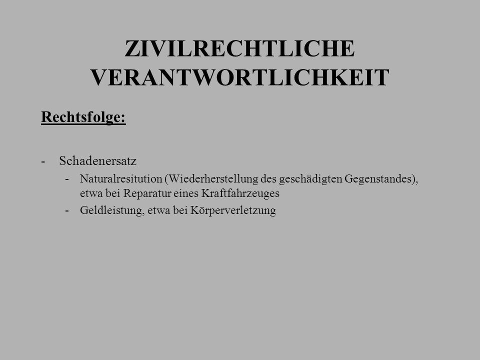 ZIVILRECHTLICHE VERANTWORTLICHKEIT Rechtsfolge: -Schadenersatz -Naturalresitution (Wiederherstellung des geschädigten Gegenstandes), etwa bei Reparatu