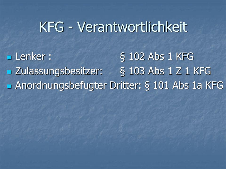 KFG - Verantwortlichkeit Lenker : § 102 Abs 1 KFG Lenker : § 102 Abs 1 KFG Zulassungsbesitzer: § 103 Abs 1 Z 1 KFG Zulassungsbesitzer: § 103 Abs 1 Z 1