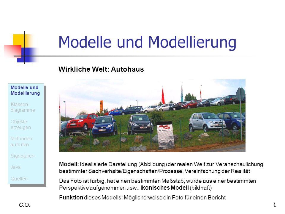 1 Modelle und Modellierung C.O. Wirkliche Welt: Autohaus Modell: Idealisierte Darstellung (Abbildung) der realen Welt zur Veranschaulichung bestimmter