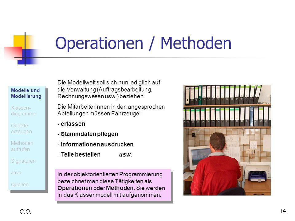 14 Operationen / Methoden C.O. Die Modellwelt soll sich nun lediglich auf die Verwaltung (Auftragsbearbeitung, Rechnungswesen usw.) beziehen. Die Mita