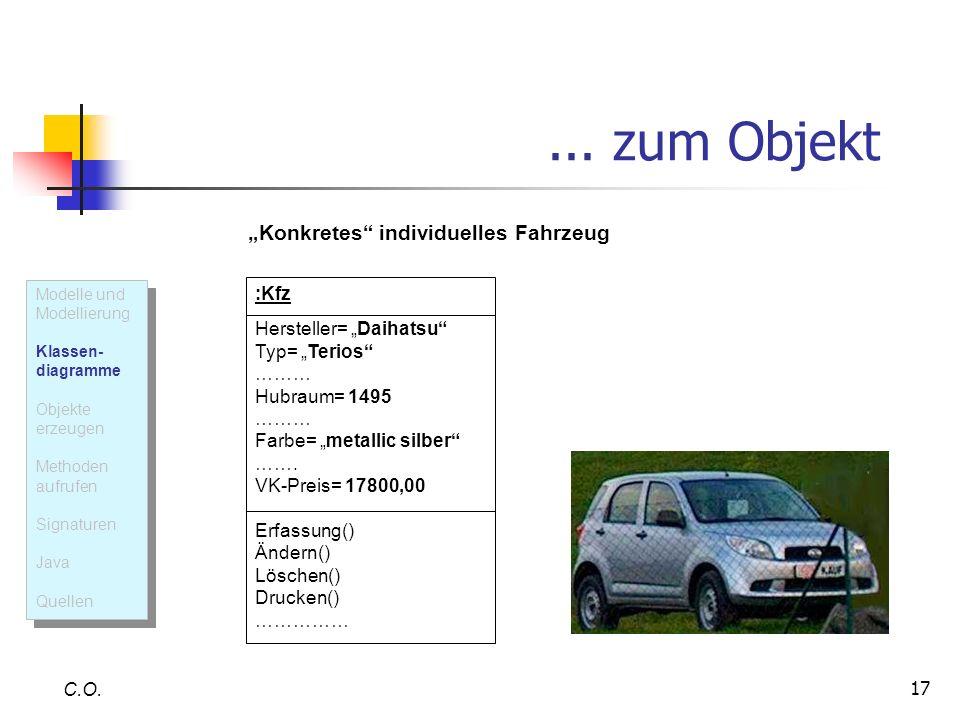 17... zum Objekt C.O. :Kfz Hersteller= Daihatsu Typ= Terios ……… Hubraum= 1495 ……… Farbe= metallic silber ……. VK-Preis= 17800,00 Erfassung() Ändern() L
