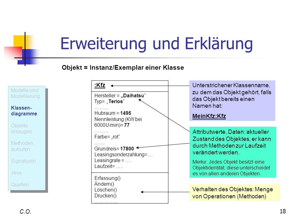 18 Erweiterung und Erklärung C.O. :Kfz Hersteller = Daihatsu Typ= Terios ……… Hubraum = 1495 Nennleistung (KW bei 6000U/min)= 77 ……… Farbe= rot ……. Gru