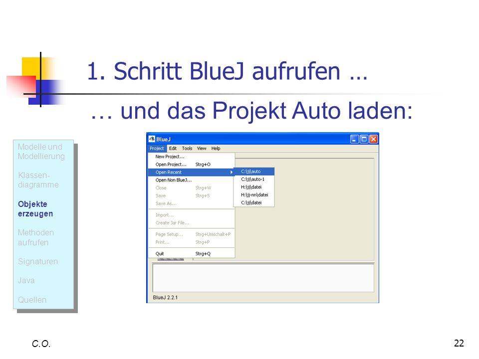 22 1. Schritt BlueJ aufrufen … C.O. … und das Projekt Auto laden: Modelle und Modellierung Klassen- diagramme Objekte erzeugen Methoden aufrufen Signa