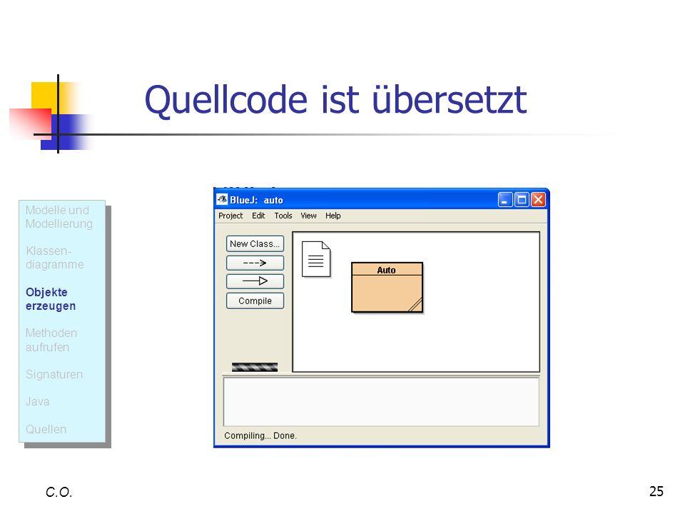 25 Quellcode ist übersetzt C.O. Modelle und Modellierung Klassen- diagramme Objekte erzeugen Methoden aufrufen Signaturen Java Quellen Modelle und Mod