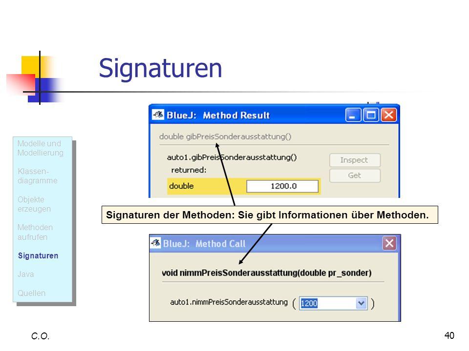 40 Signaturen C.O. Signaturen der Methoden: Sie gibt Informationen über Methoden. Modelle und Modellierung Klassen- diagramme Objekte erzeugen Methode