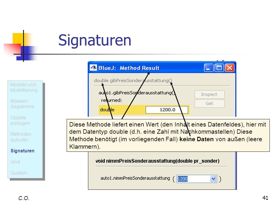 41 Signaturen C.O. Diese Methode liefert einen Wert (den Inhalt eines Datenfeldes), hier mit dem Datentyp double (d.h. eine Zahl mit Nachkommastellen)
