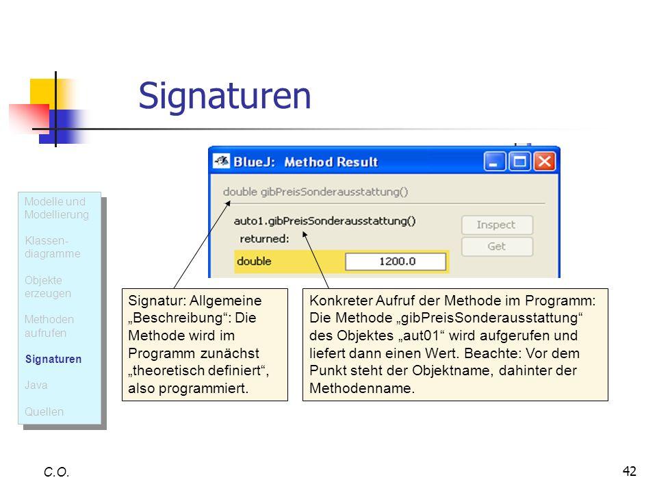 42 Signaturen C.O. Signatur: Allgemeine Beschreibung: Die Methode wird im Programm zunächst theoretisch definiert, also programmiert. Konkreter Aufruf