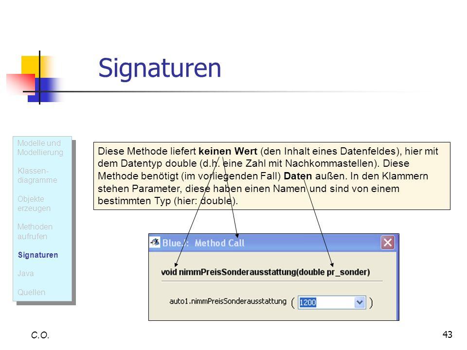 43 Signaturen C.O. Diese Methode liefert keinen Wert (den Inhalt eines Datenfeldes), hier mit dem Datentyp double (d.h. eine Zahl mit Nachkommastellen