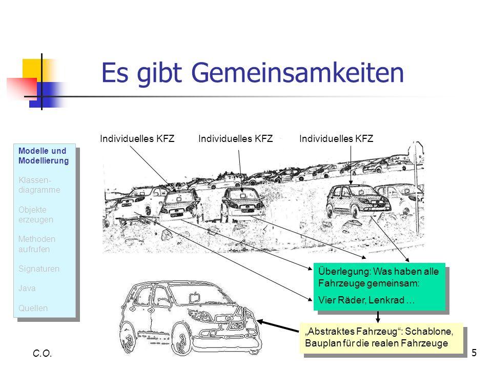 5 Es gibt Gemeinsamkeiten C.O. Überlegung: Was haben alle Fahrzeuge gemeinsam: Vier Räder, Lenkrad … Überlegung: Was haben alle Fahrzeuge gemeinsam: V