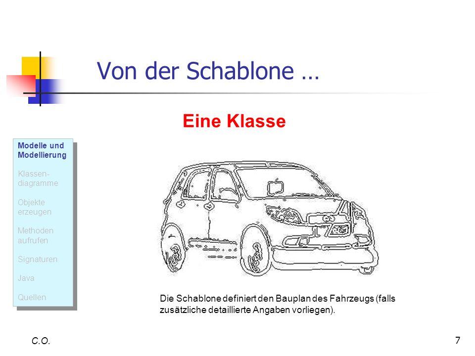 7 Von der Schablone … C.O. Die Schablone definiert den Bauplan des Fahrzeugs (falls zusätzliche detaillierte Angaben vorliegen). Eine Klasse Modelle u
