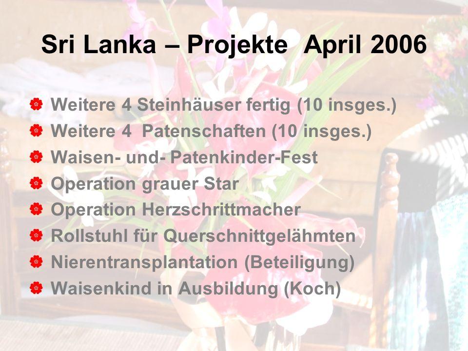 Sri Lanka – Projekte April 2006 Weitere 4 Steinhäuser fertig (10 insges.) Weitere 4 Patenschaften (10 insges.) Waisen- und- Patenkinder-Fest Operation grauer Star Operation Herzschrittmacher Rollstuhl für Querschnittgelähmten Nierentransplantation (Beteiligung) Waisenkind in Ausbildung (Koch)