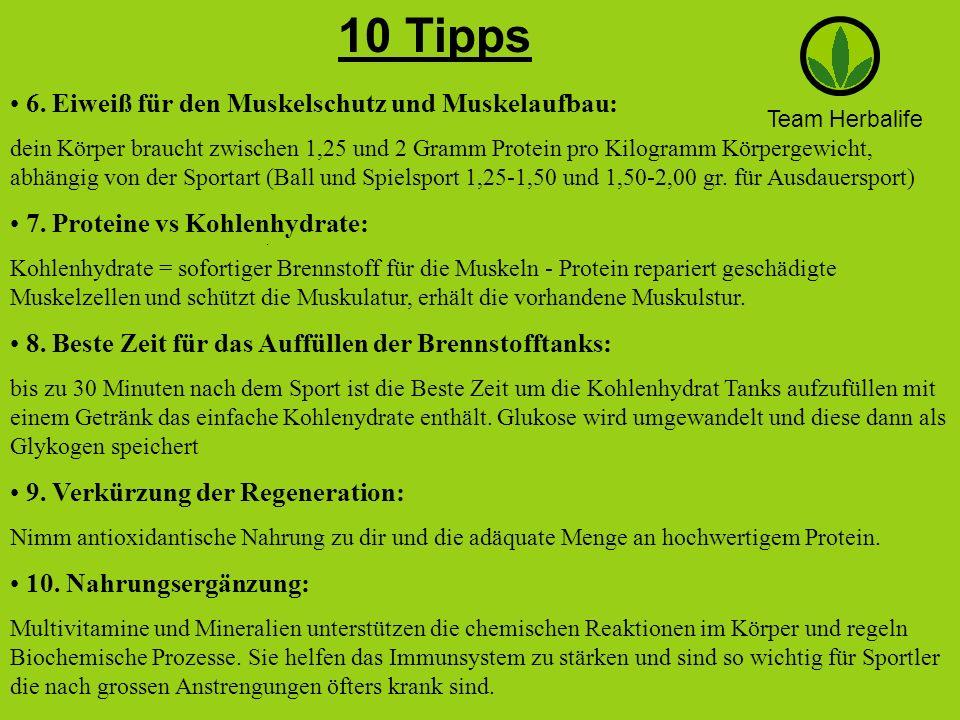 Team Herbalife 10 Tipps. 6. Eiweiß für den Muskelschutz und Muskelaufbau: dein Körper braucht zwischen 1,25 und 2 Gramm Protein pro Kilogramm Körperge