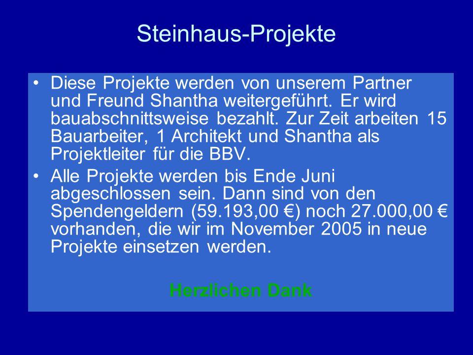Steinhaus-Projekte Diese Projekte werden von unserem Partner und Freund Shantha weitergeführt.