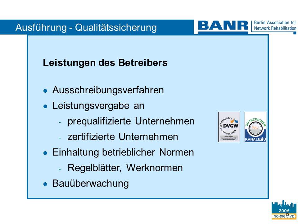 13 Ausführung - Qualitätssicherung Leistungen des Betreibers Ausschreibungsverfahren Leistungsvergabe an - prequalifizierte Unternehmen - zertifiziert