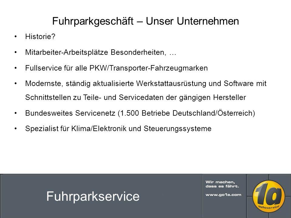 Fuhrparkgeschäft – Unser Unternehmen Historie.