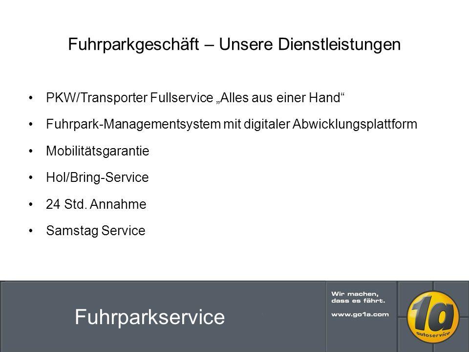 Fuhrparkgeschäft – Unsere Dienstleistungen PKW/Transporter Fullservice Alles aus einer Hand Fuhrpark-Managementsystem mit digitaler Abwicklungsplattform Mobilitätsgarantie Hol/Bring-Service 24 Std.