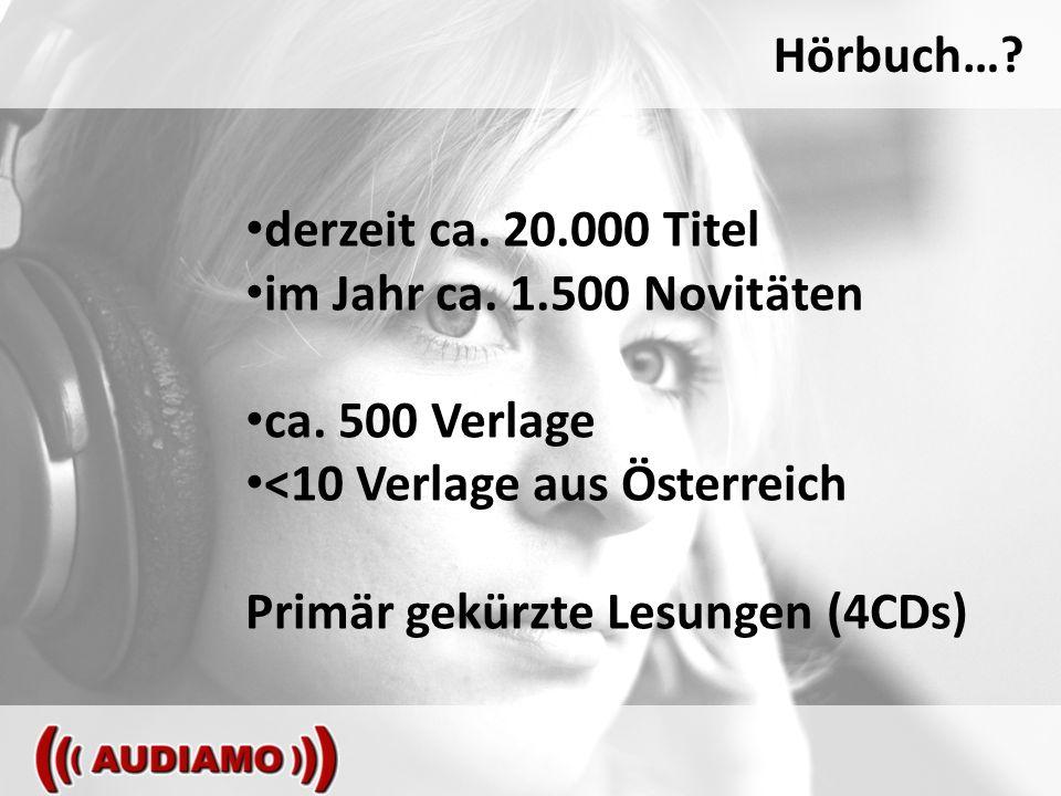 Hörbuch…. derzeit ca. 20.000 Titel im Jahr ca. 1.500 Novitäten ca.