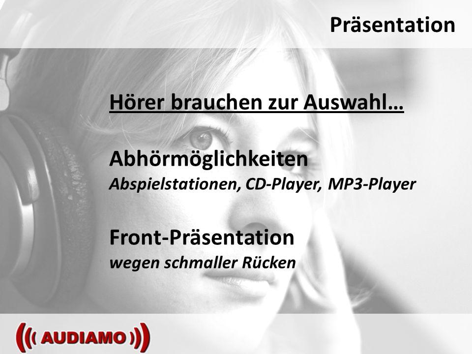 Präsentation Hörer brauchen zur Auswahl… Abhörmöglichkeiten Abspielstationen, CD-Player, MP3-Player Front-Präsentation wegen schmaller Rücken