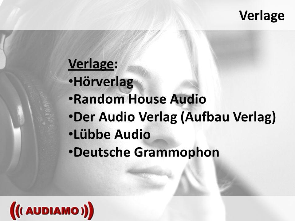 Verlage Verlage: Hörverlag Random House Audio Der Audio Verlag (Aufbau Verlag) Lübbe Audio Deutsche Grammophon