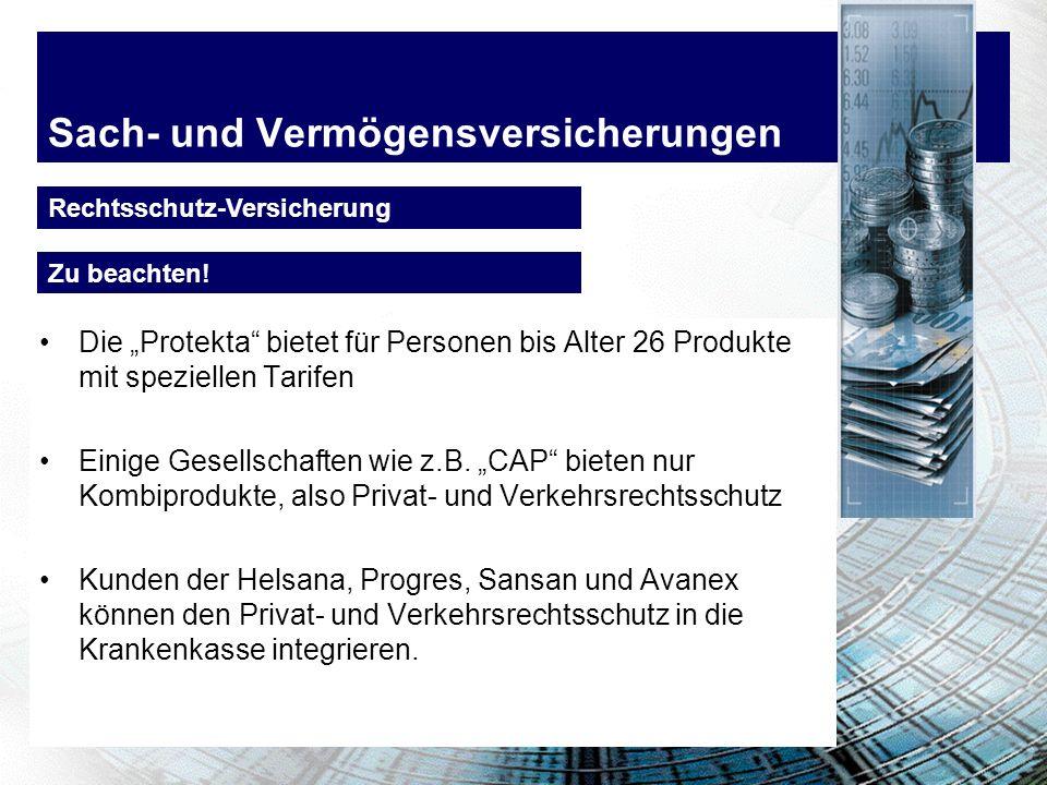 Sach- und Vermögensversicherungen Beispiel 1: Verkehrsrechtsschutz Person Alter 20 Jahresprämie 126.- 148.- 60.- Kostenvergleich Beispiel 2: Privatrec
