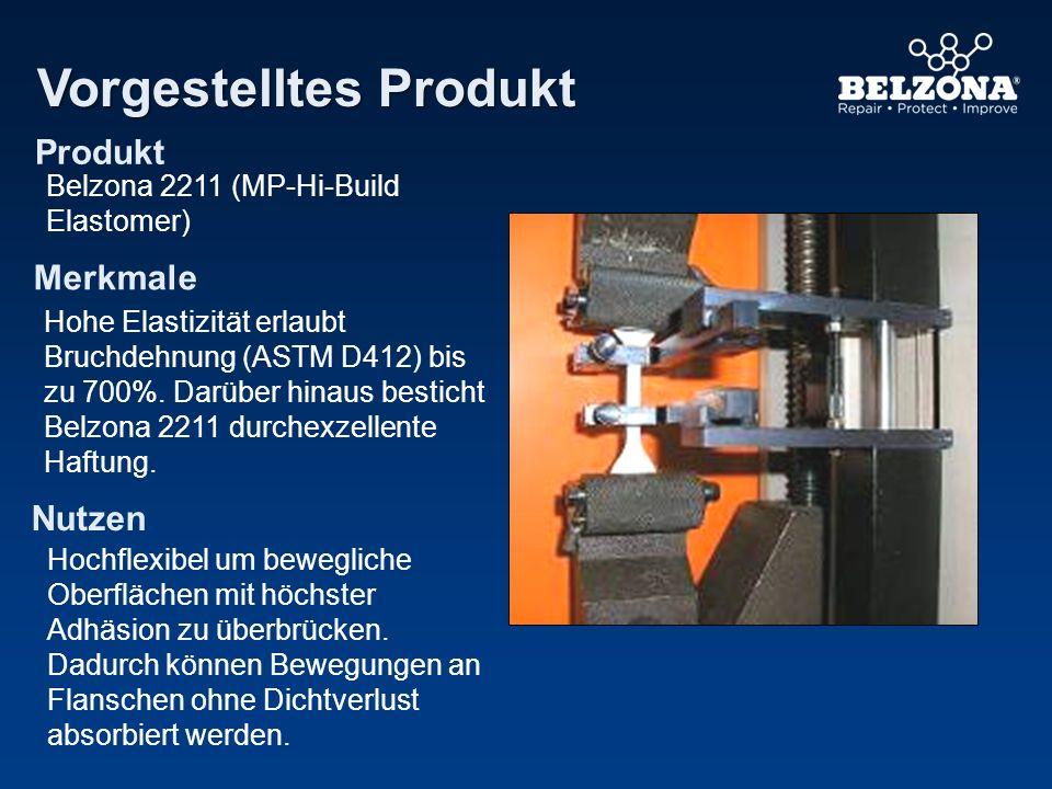Produkt Merkmale Nutzen Vorgestelltes Produkt Belzona 2211 (MP-Hi-Build Elastomer) Hohe Elastizität erlaubt Bruchdehnung (ASTM D412) bis zu 700%. Darü