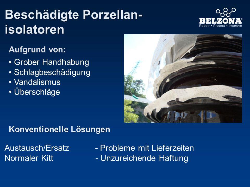 Beschädigte Porzellan- isolatoren Konventionelle Lösungen Austausch/Ersatz - Probleme mit Lieferzeiten Normaler Kitt- Unzureichende Haftung Grober Han