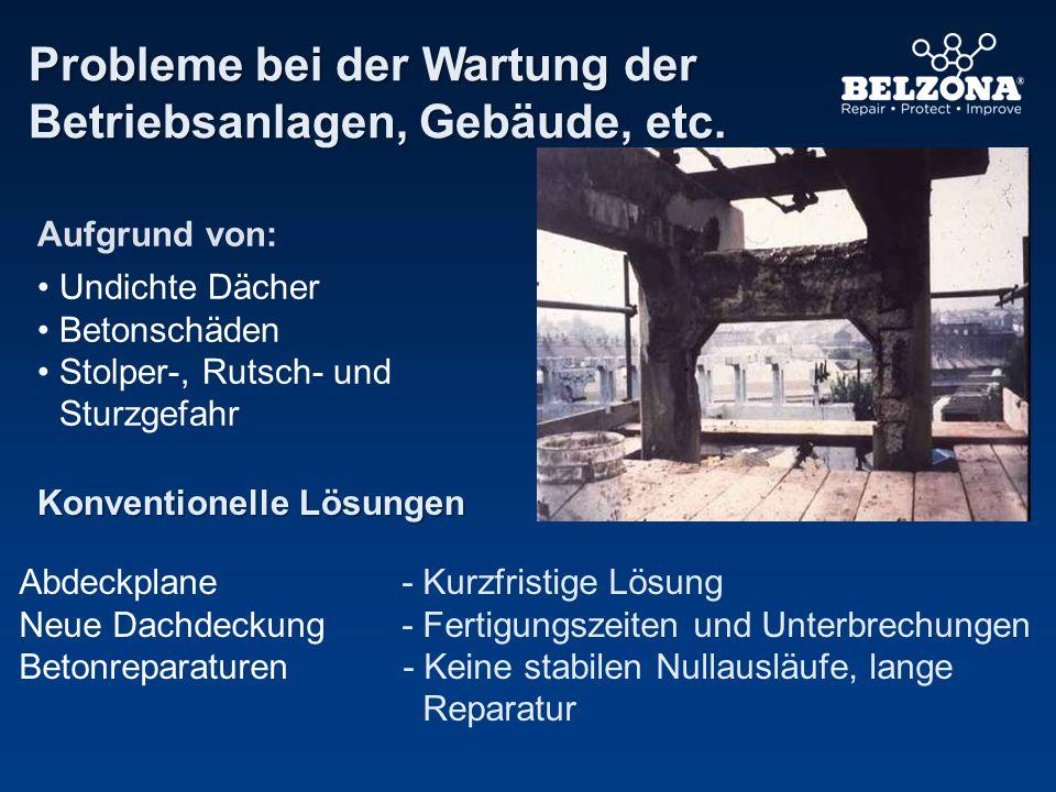 Probleme bei der Wartung der Betriebsanlagen, Gebäude, etc. Konventionelle Lösungen Abdeckplane - Kurzfristige Lösung Neue Dachdeckung - Fertigungszei