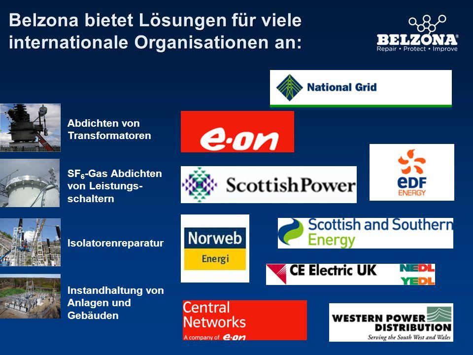 Belzona bietet Lösungen für viele internationale Organisationen an: Abdichten von Transformatoren SF 6 -Gas Abdichten von Leistungs- schaltern Isolato