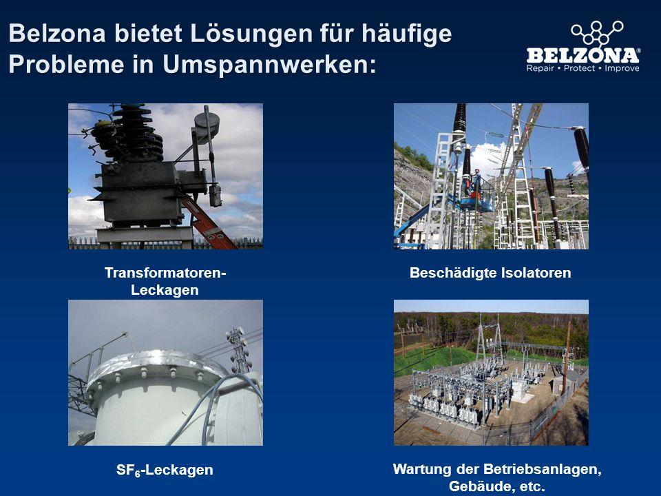 Belzona bietet Lösungen für häufige Probleme in Umspannwerken: SF 6 -Leckagen Transformatoren- Leckagen Beschädigte Isolatoren Wartung der Betriebsanl