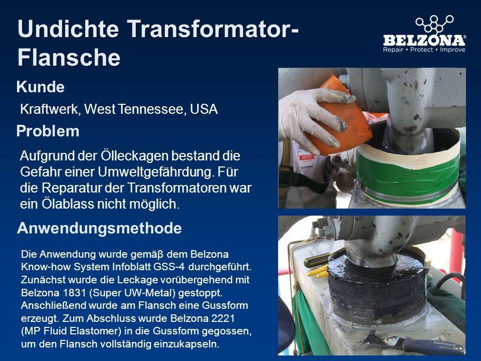 Kunde Problem Anwendungsmethode Abdichtung eines Transformatoren- flanschs Ӧ ffentliches Stromnetz, GB Ölaustritt an der verschraubten Flanschverbindung stellte eine Verunreinigungs- und Unfallgefahr dar.